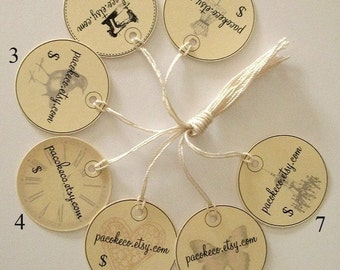 Vintage Images Customized Etsy Shop Prestrung 1.5 inch  Circle Price Tags - Set of 70 - for trade and craft shows