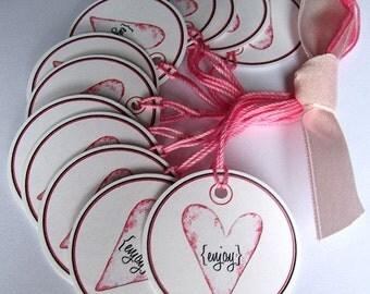 ENJOY Pink Heart Prestrung Circle Tags - Set of 12