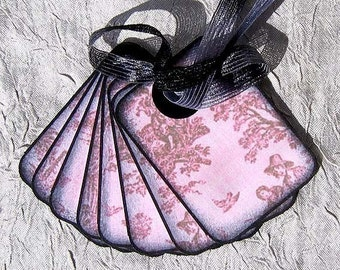 Pink Toile Tags - Set of 8