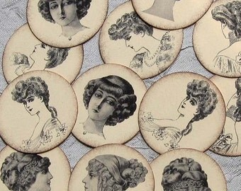 VINTAGE LADY HEADS - Set of 12 - Paper embellishments for scrapbooking, cardmaking, ACEOs, ATCs, collage, altered art