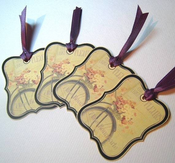 OLD FRENCH Bicycle and Flowers Tags with Ribbon - Set of 4