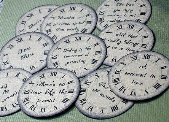 TIME PHRASES Paper Embellishments - Set of 10