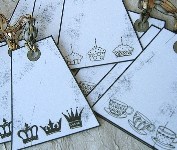 TEACUPS, CUPCAKES AND CROWN, OH MY - LARGE TAGS - Set of NINE