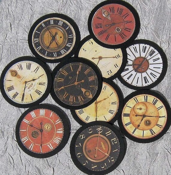 PAPER CLOCK FACE EMBELLISHMENTS - Set of  TEN - for scrapbooking,cardmaking, ACEO and other altered art.