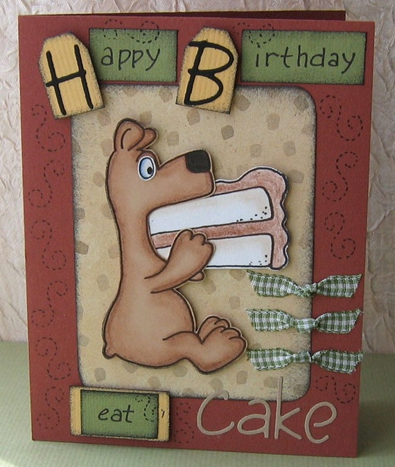 EAT CAKE - Birthday Greeting Card with Paper Piecing