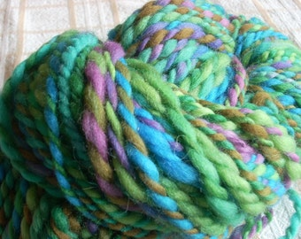 Handspun Hand-dyed Corriedale Wool Yarn - 4oz Bulky weight 95 yards.