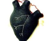 Anatomical black heart plush
