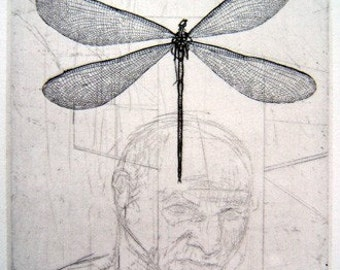 Dreamt Damselfly Portrait-hand drawn