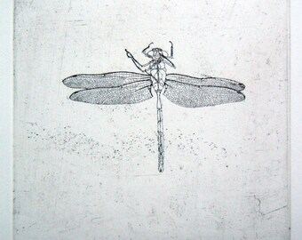 Dragonfly hand drawn etching
