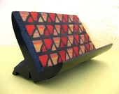 Red and Orange Mosaic Business Card Holder for Desk or Counter