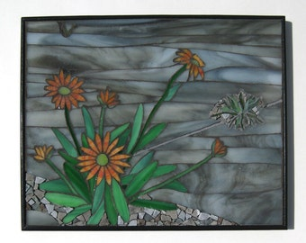 Mosaic Wall Art, Title: Urban Renewal, Orange Flowers Stained Glass and Granite Stone Contemporary Mosaic Art Beauty in Unexpected  Place