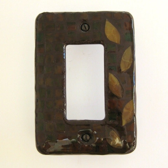 Autumn Leaves ROCKER Stained Glass Mosaic Light Switch Cover