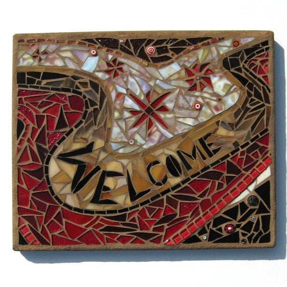 Reserved**** Stained Glass Mosaic Wall Art Welcome Sign