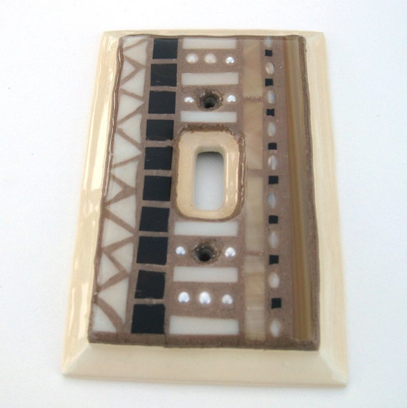 SALE Mosaic Single Light Switch Cover Brown and Cream Stripes