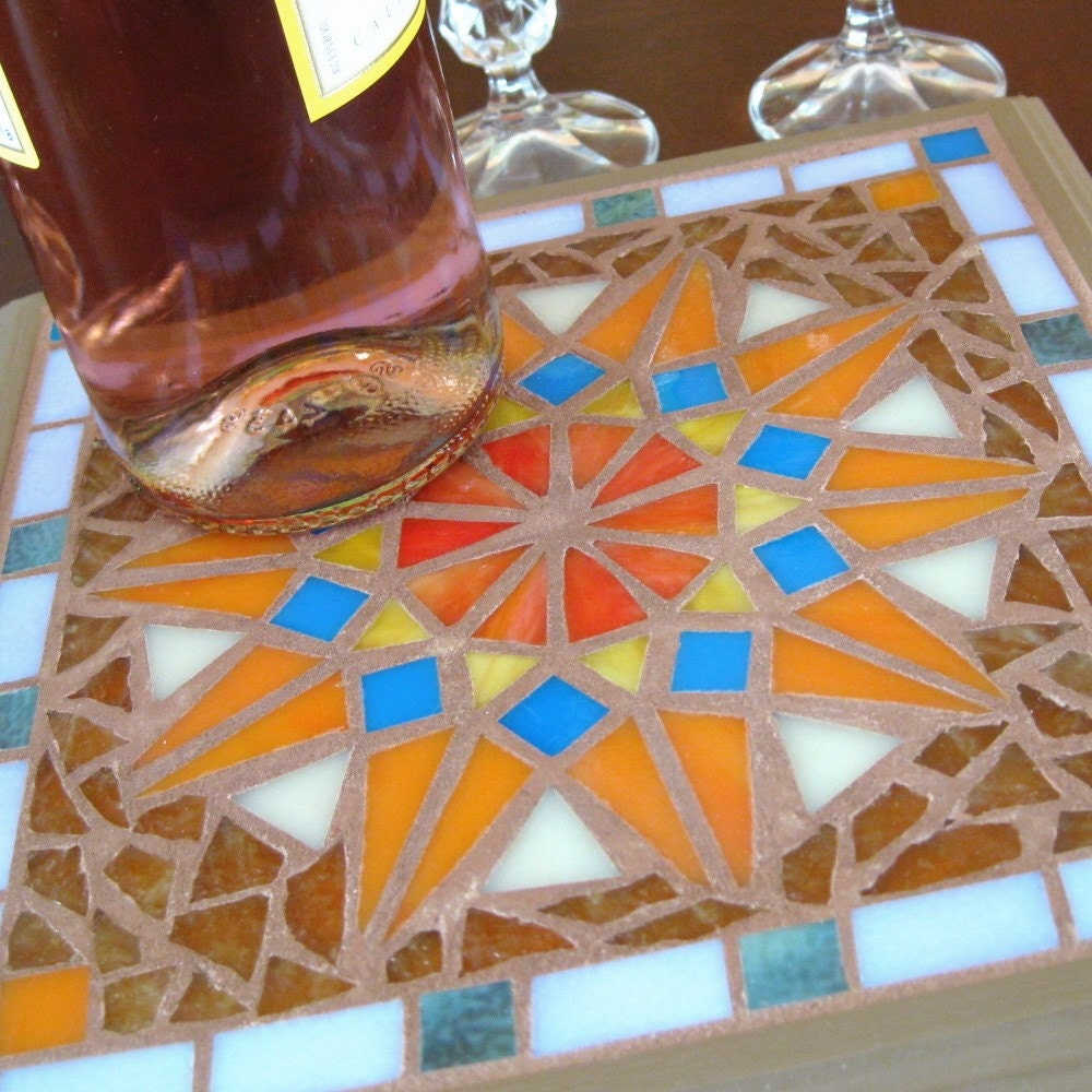 Red Mosaic Wall Decor : Mosaic wall decor or trivet starburst by mosaicsmith on etsy