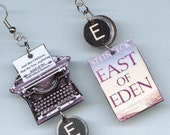 Book Cover Earrings - John Steinbeck Quote East of Eden - typewriter jewelry - literary readers librarian book lovers gift