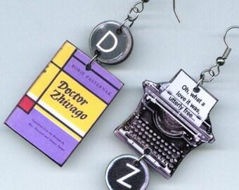 Book Cover Typewriter Earrings - Boris Pasternak Dr Zhivago - Literary gift- graduation