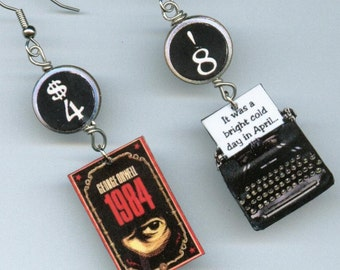Book Cover Earrings - George Orwell 1984 - Typewriter quote - BANNED censored dystopian novel - book club readers librarian gift
