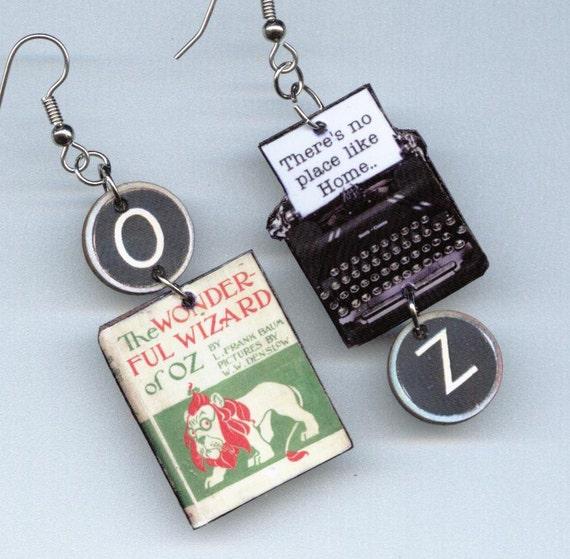 The Wizard of Oz EARRINGS L Frank Baum Vintage Typewriter