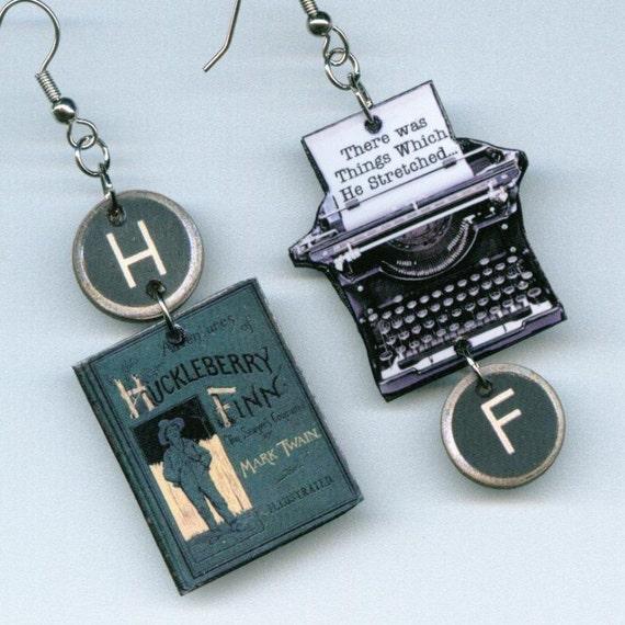 Huckleberry Finn Earrings Vintage Typewriter Mark Twain