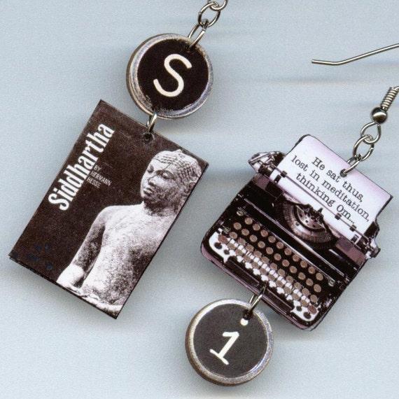 Siddhartha EARRINGS Hermann Hesse typewriter Book