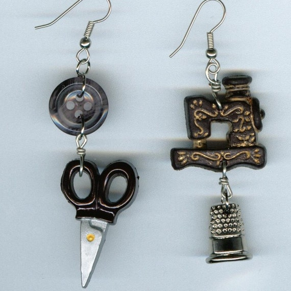 Sewing Machine Earrings Vintage Scissors Thimble Seamstress Button