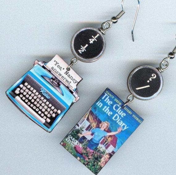 Nancy Drew Earrings Vintage Typewriter The Clue in the Diary