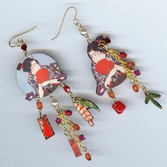 Woodblock Ukiyo-E Earrings Asymmetrical Altered Art Japanese Kuniyoshi Utagawa