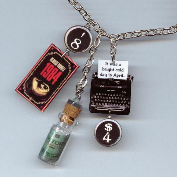1984 Necklace George Orwell vintage typewriter Book