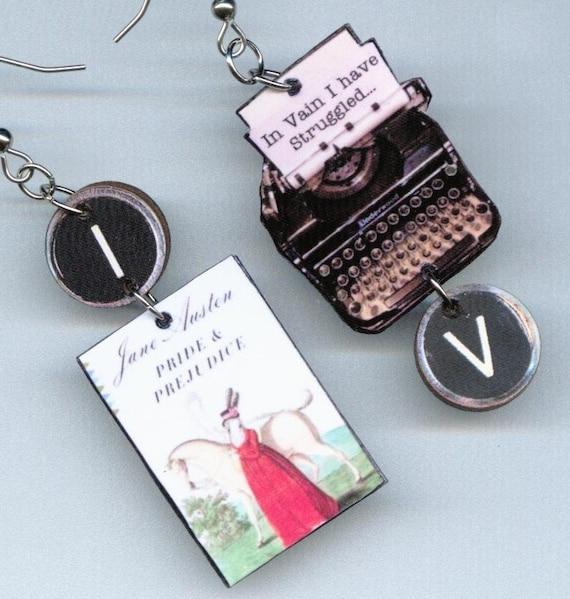 Pride and Prejudice EARRINGS Jane Austen quote vintage Typewriter