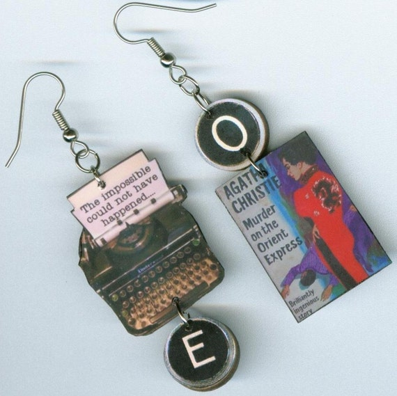 Book Earrings Agatha Christie  QUOTE Murder on the Orient Express Mystery