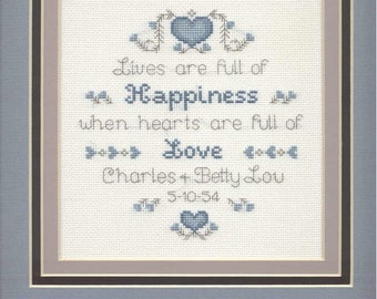 Custom Wedding/Anniversary Cross-stitch items