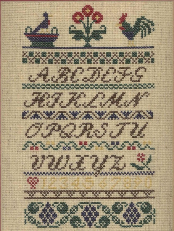 Framed Rooster Sampler Cross-Stitch
