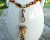 "Amber Necklace with Pearls and Art Glass Tassel,  19"" necklace, pendant necklace, adult amber necklace"