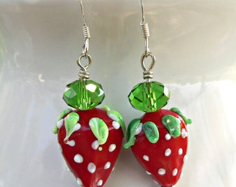 Lampwork Strawberry Earrings, silver earrings, lampwork earrings, fruit earrings, lamp work