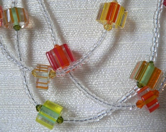 Sale! Summer Cane Glass Necklace , Multi-Strand Necklace, Beaded, Citrus Colors: Orange, Yellow, Green, 17.5+""