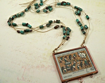 Vietnamese Postage Stamp Turquoise, Copper, and Linen Necklace (no. 673)