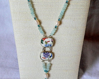 Aquamarine Necklace with Pearls and Chinese Porcelain Shard Pendant , sterling silver toggle, March birthstone, 18""