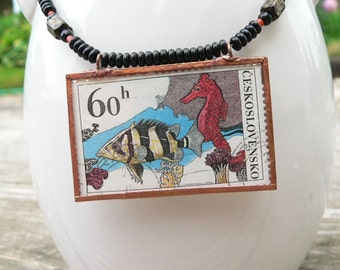 "Postage Stamp Necklace, 20"", Seahorse jewelry, Coral Reef Art, Ocean Jewelry, Sea Life, Fish, Nature, Czechoslavakia"