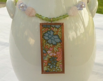 Floral Glass Bead and Japanese Paper Pendant Necklace, pastel, Chiyugami paper pendant, flower necklace, 18""
