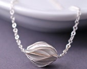 Small Sterling Silver Bead Necklace, Simple Necklace, Paper Bead Necklace, Bridesmaid Jewelry