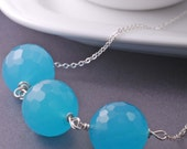 LAST ONE - Long Bright Blue Chalcedony Necklace Sterling Silver