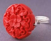 Red Ring, Valentine Red Jewelry Gift, Cinnabar Carved Flower Sterling Silver RIng