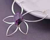 LAST ONE - Amethyst Necklace, Lotus Flower Necklace, Sterling Silver Purple Lotus Blossom Necklace