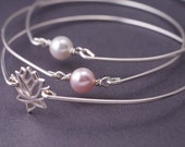 Lotus Bracelet, Pearl Bangle Bracelet Set, Sterling Silver Bangle Bracelet Set, Pink and White Pearl Trio Bangle Bracelet