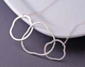 Simple Necklace, Circle Necklace, Modern Necklace, Bridesmaid Gift, Sterling Silver Abstract 3 Circle Necklace