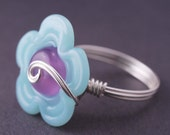 SIZE 7 ONLY- Flower Ring, Cocktail Ring,  Purple Blue Glass Sterling Silver Wire Wrapped