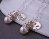Bridesmaid Necklaces, TWO, Pearl Bridesmaid Jewelry Gift, Personalized Bridesmaid Necklace Gift