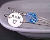 Something Blue Bracelet Set, Personalized Bridal Jewelry, Sterling Silver Initial Love Bracelet