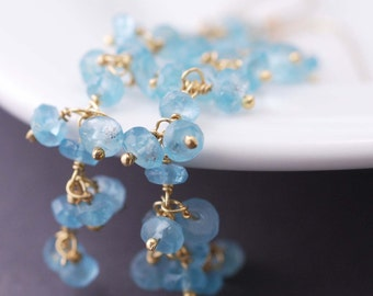 Long Gold Earrings,, Gold Apatite Earrings, Long Teal Earrings, Long Aqua Gemstone Earrings, Wife Gift